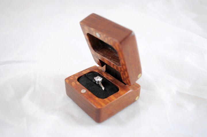 Ring Box - Leopardwood & Peruvian Walnut - Side Open