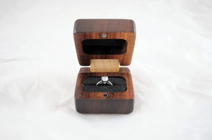 Ring Box - Koa & Curly Maple - Front Open