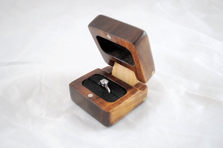 Ring Box - Koa & Curly Maple - Side Open