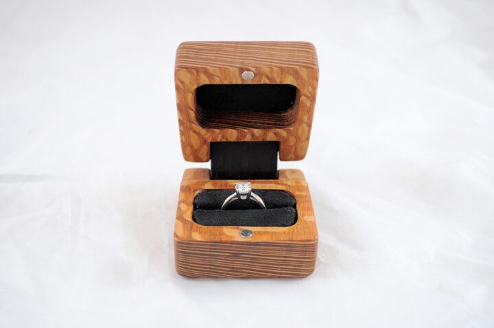 Ring Box - Lacewood & Wenge - Front Open