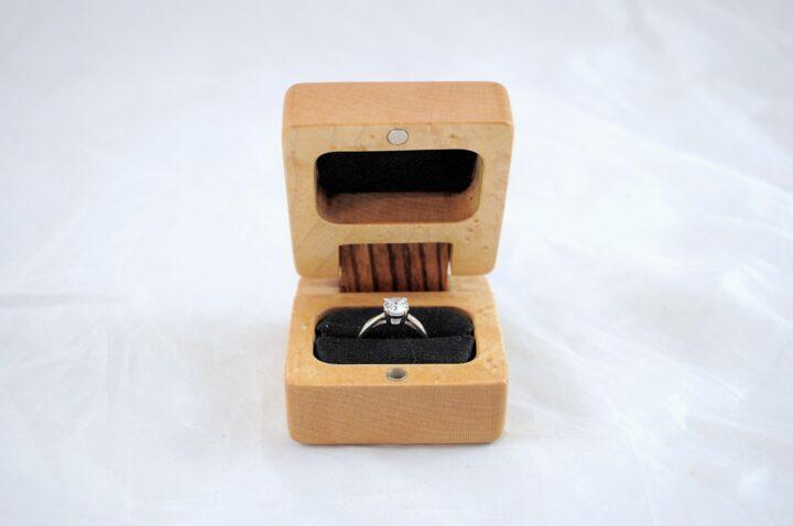 Ring Box - Birdseye Maple & Zebrawood - Open Front