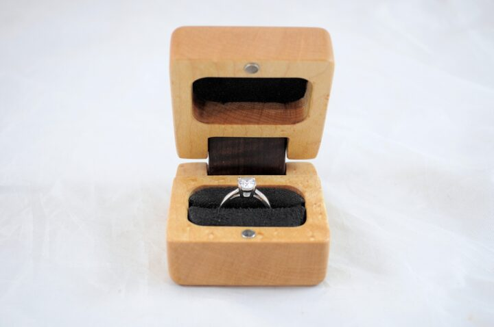 Ring Box - Birdseye Maple & Roasted Curly Maple - Front Open