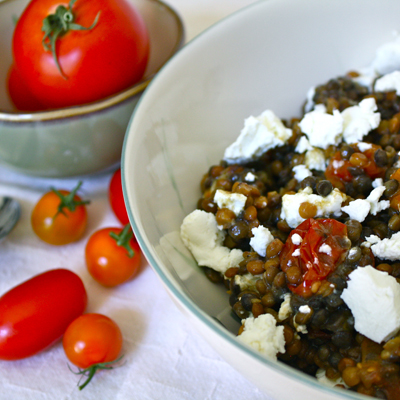 Lentil and Chevre Salad with Thyme Roasted Tomatoes | Black Girl Chef's Whites