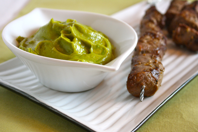 Skewered Steak Tips with Avocado Gastrique