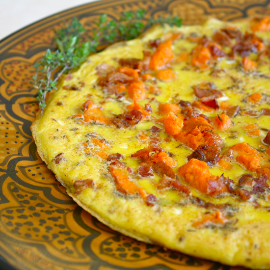 Roasted Garnet Yam and Bacon Frittata | Black Girl Chef's Whites