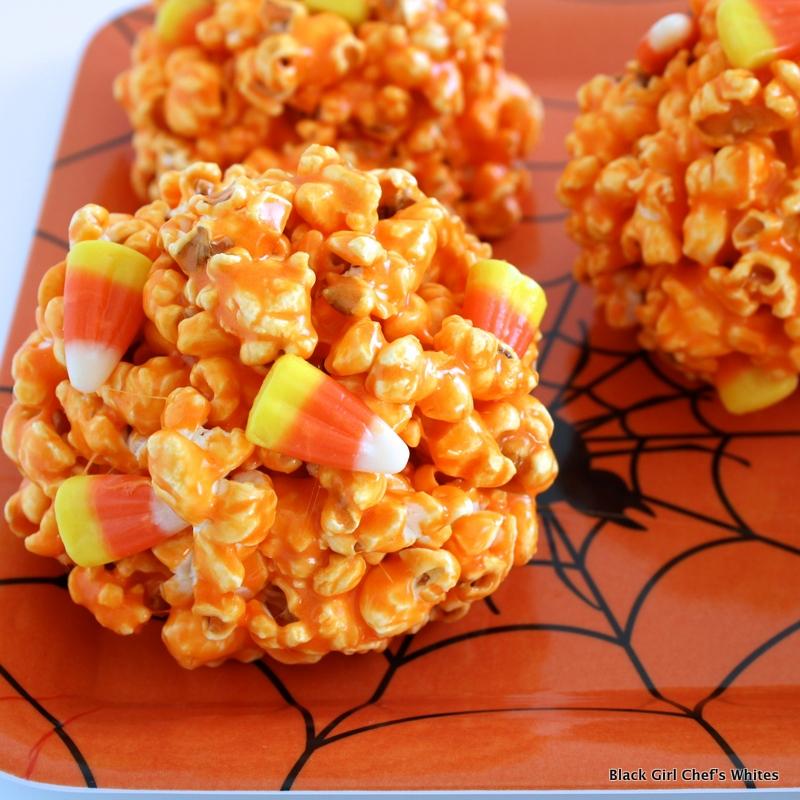 Candy Corn Popcorn Balls | Black Girl Chef's Whites