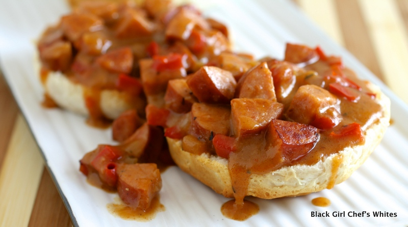 Biscuits with Andouille Sausage Gravy | Black Girl Chef's Whites
