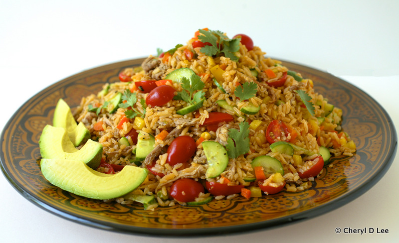 Arroz Salad with Carnitas and Salsa Verde Vinaigrette | Black Girl Chef's Whites