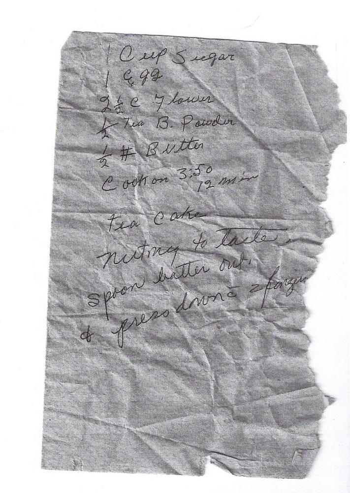 Handwritten Teacake Recipe