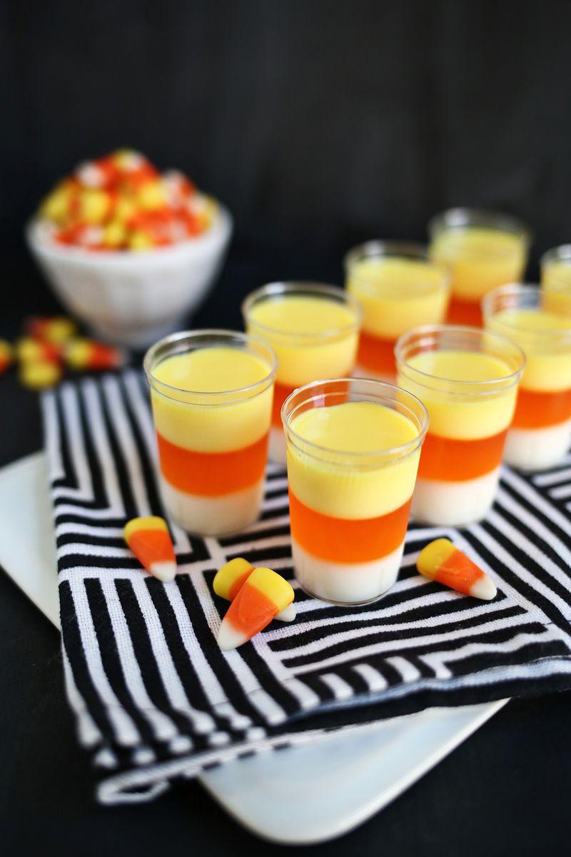 Candy Corn Jello Shots found on A Beautiful Mess