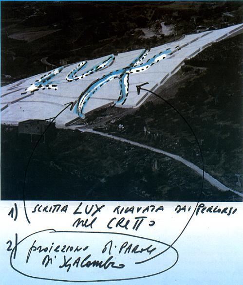 Lux, bozzetto per l'installazione luminosa al Cretto di Burri, Gibellina, 1998.