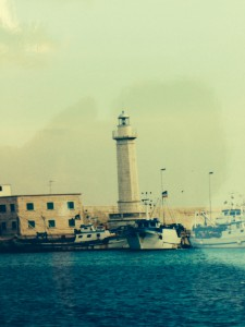 The lighthouse of Molfetta in the harbor