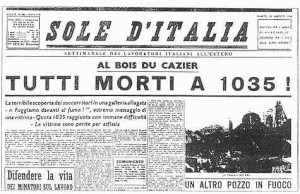 Italian Newspaper article announcing the tragedy of Marcinelle.