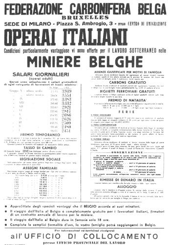 Poster calling for Italian workers to go the mines of Belgium.