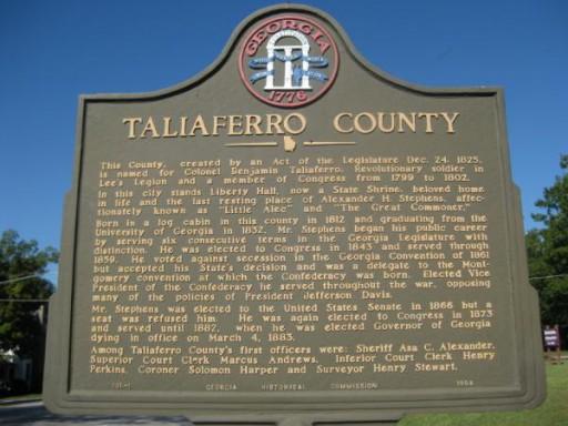 taliaferro county plaque