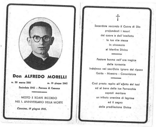 Prayer card of Don Alfredo issued on the first anniversary of his death.