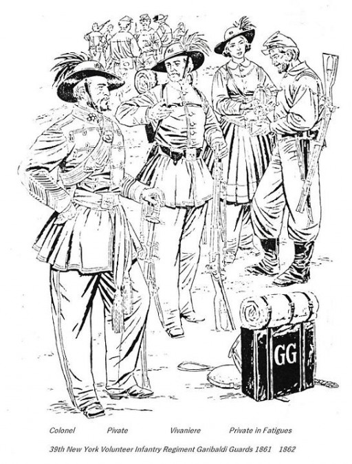 Drawing of the officers, soldiers and a vivandiere