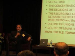Professor Bonomo during the Discussion
