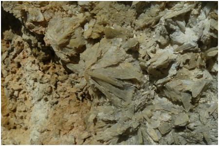 Foto 3. Cristalli di gesso all'interno di una vena decimetrica, Lipari, area Cava del Caolino
