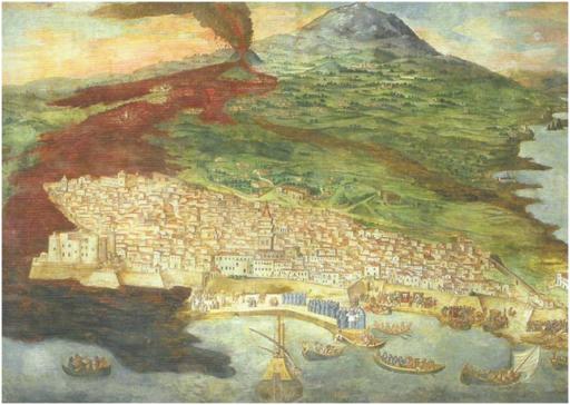 Stampa antica dell'eruzione dell'Etna del 1669 (autore Giacinto Platania, quadro esposto presso la Cattedrale di Catania). L'intrusione si propagò per circa 16 km dall'area sommitale verso il fianco Sud del vulcano sino a quota 800 metri s.l.m. in prossimità dell'abitato di Nicolosi. Da qui, accompagnata da una forte attività esplosiva che generò i coni eruttivi denominati Monti Rossi, fuoriuscì il flusso lavico che rapidamente si diresse verso il mare distruggendo totalmente numerosi villaggi e la parte occidentale della città di Catania.