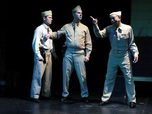 L-R: Aaron Sparks as Capt. Wilcox, Derek Dean as Lt. Byrd, Gil Tucker as Sgt. Walters. Photo by Jonathan Slaff.