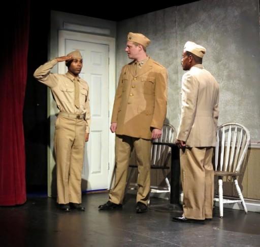 L-R: Arron Llod as Cpl. Ellis, Buck Hinkle as Capt. Charles Taylor and Chaz Reuben as Capt. Richard Davenport. Photo by Jonathan Slaff.
