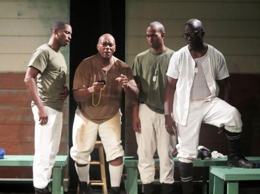 L-R: Jay Ward as Cpl. Bernard Cob, Jimmy Gary, Jr. as Pvt. C.J. Memphis, PJ Maz as Pvt. Tony Smalls, Adrian Washington as PFC Melvin Peterson. Photo by Kamoier Williams.