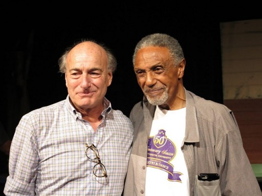 """Peter Friedman, who acted in the original cast, with Charles Weldon, director of the revival who appeared in """"A Soldier's Play"""" in the road companies. Photo by Jonathan Slaff."""