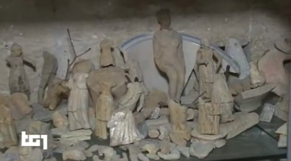A picture from the Italian TV program on the Museum showing some of the findings...