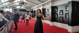 Pamela Quinzi, Celebrity Fashion Designer, walks the Red carpet of The 60th Grammys in New York