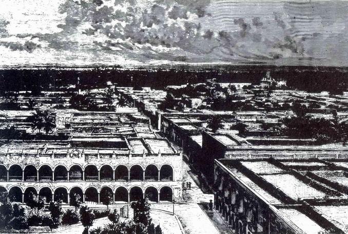 Vista del primer edificio del Olimpo, que luce características coloniales. (Desiré Charnay, 1885)