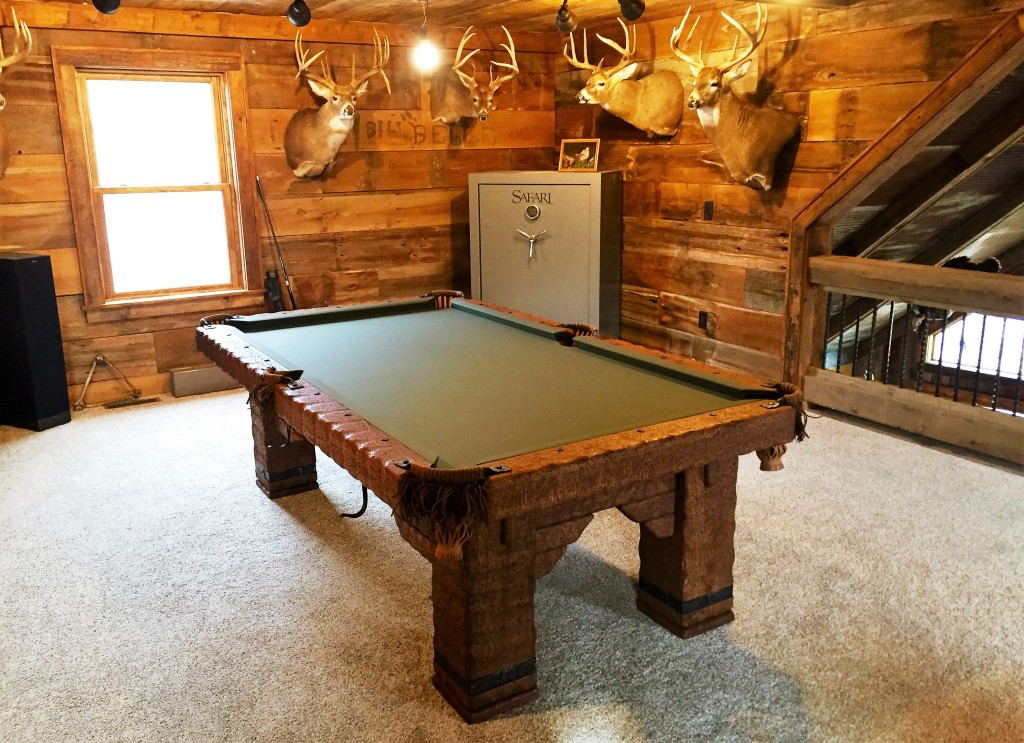 Wild West rustic log hand-made pool table by Vision Billiards 8 ft