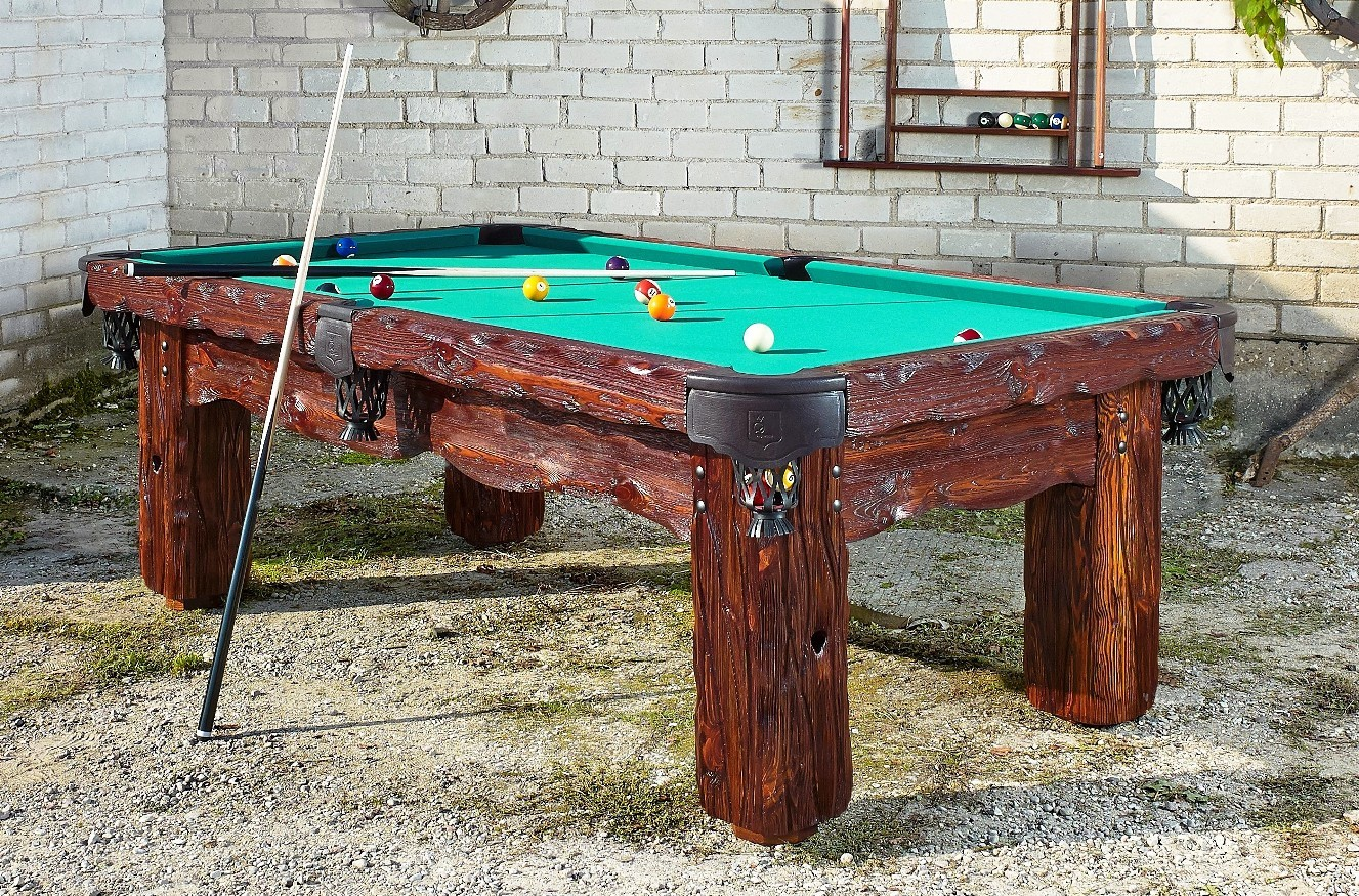 Badlands Handmade Rustic Log pool table by Vision Billiards