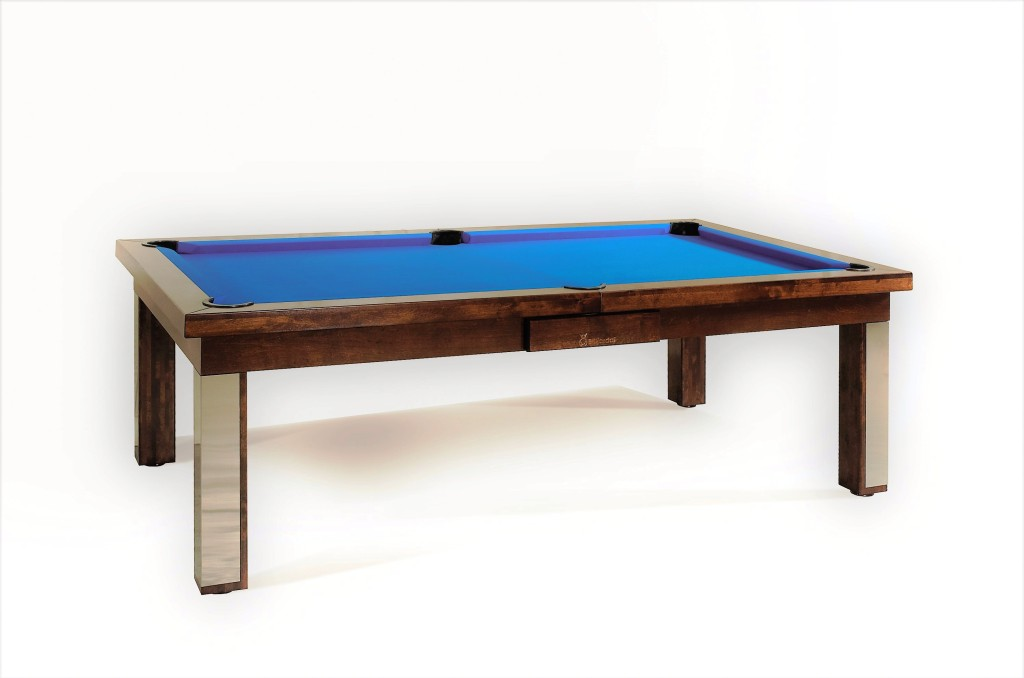 Convertible dining pool fusion table Milan by Vision Billiards blue
