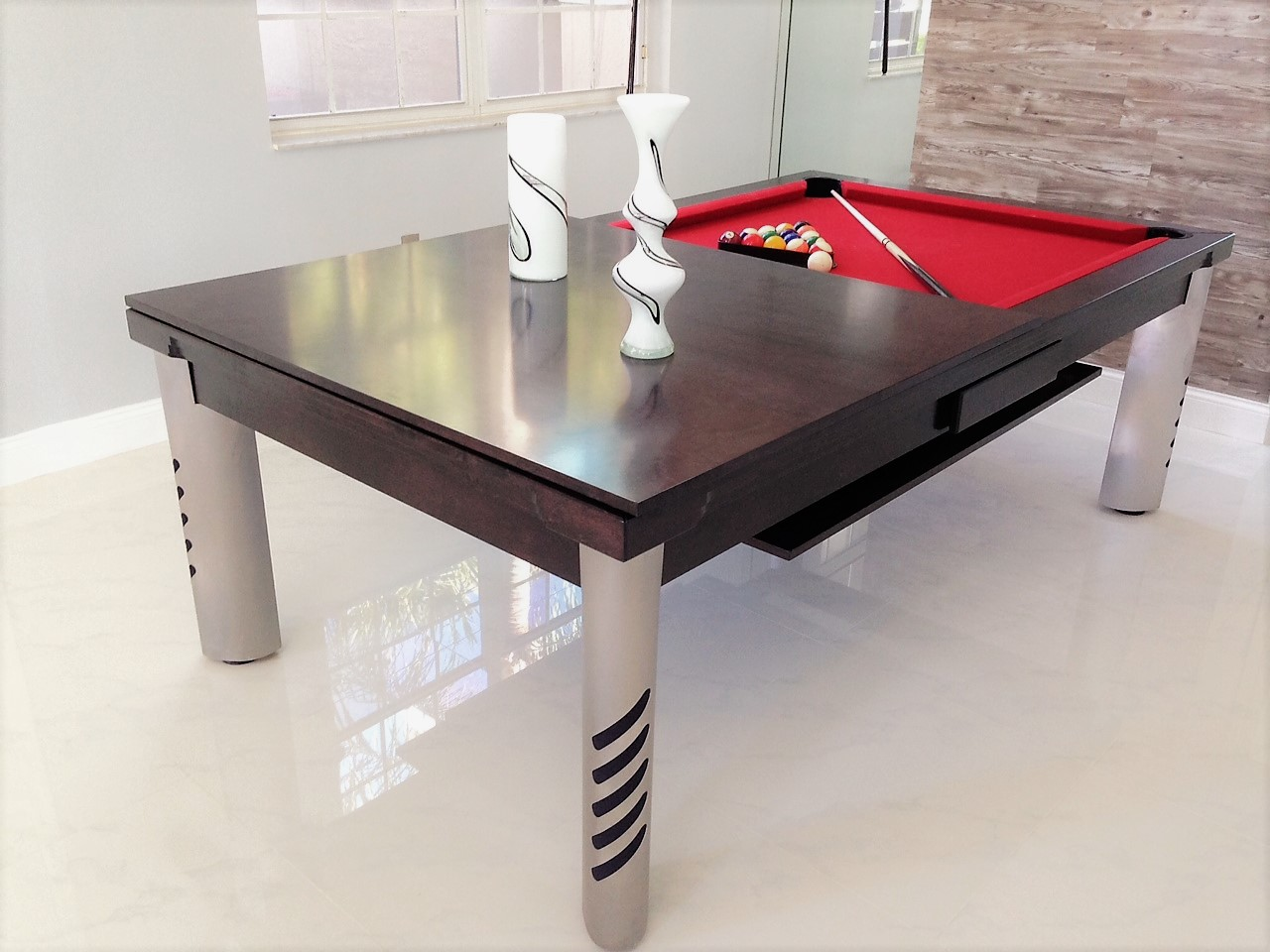 Convertible dining pool fusion table Mirage by Vision Billiards in espresso