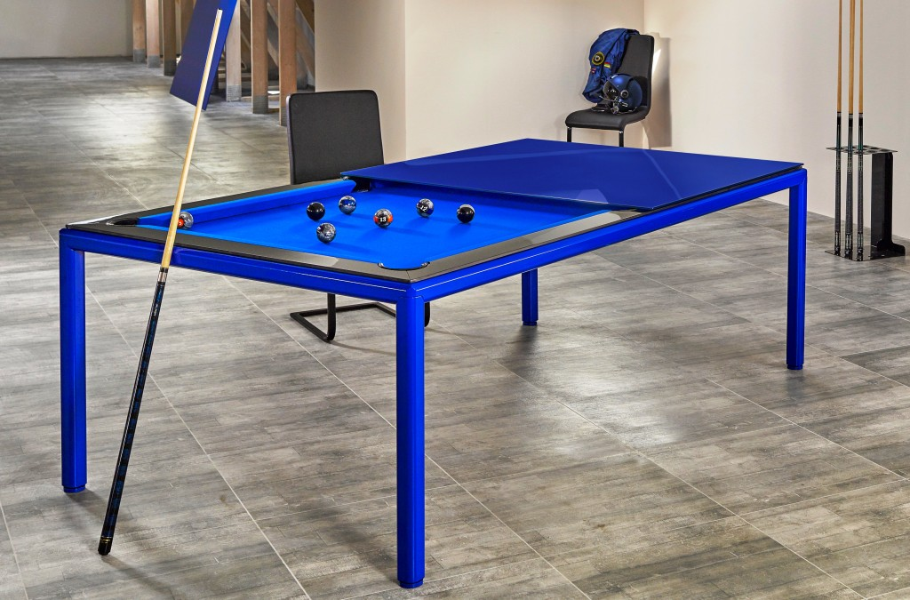 Convertible pool dining fusion table Ultra in blue by Vision Billiards