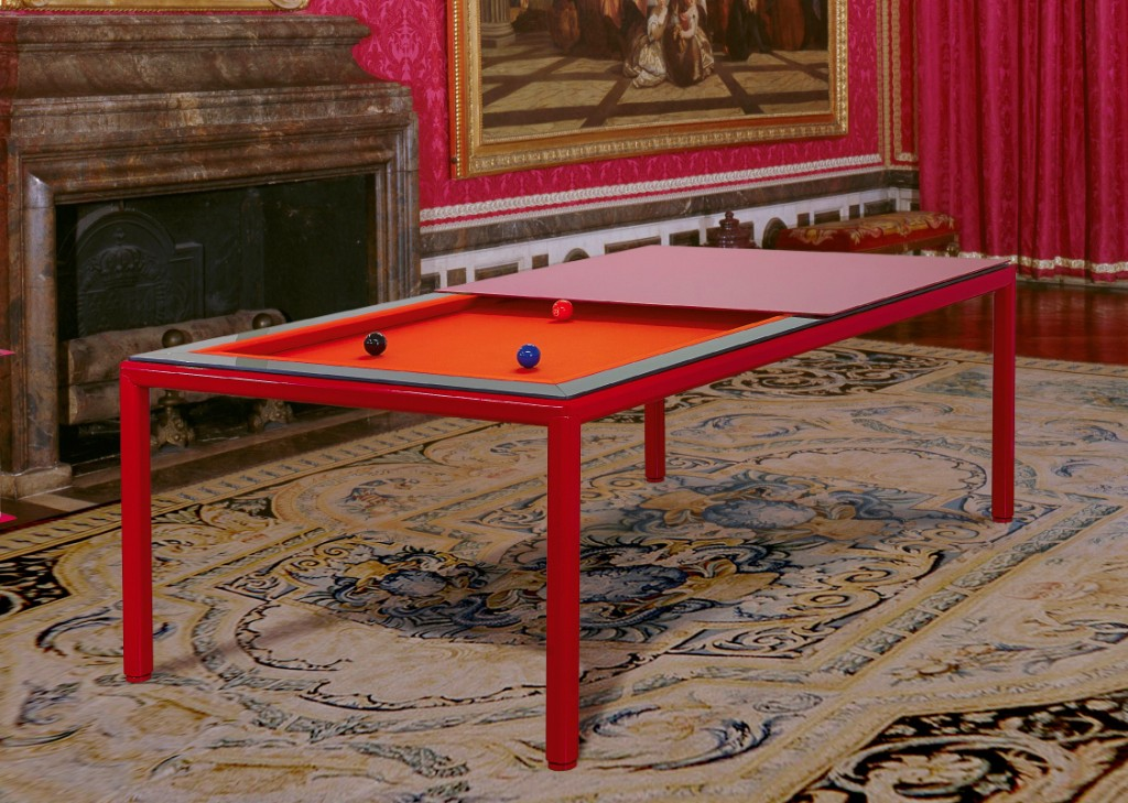 Convertible pool dining fusion table Ultra in red by Vision Billiards