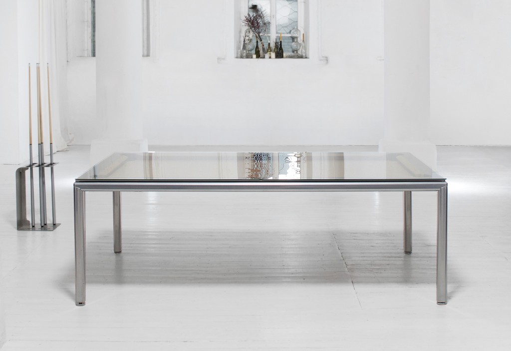 Convertible pool dining fusion table Ultra in silver by Vision Billiards