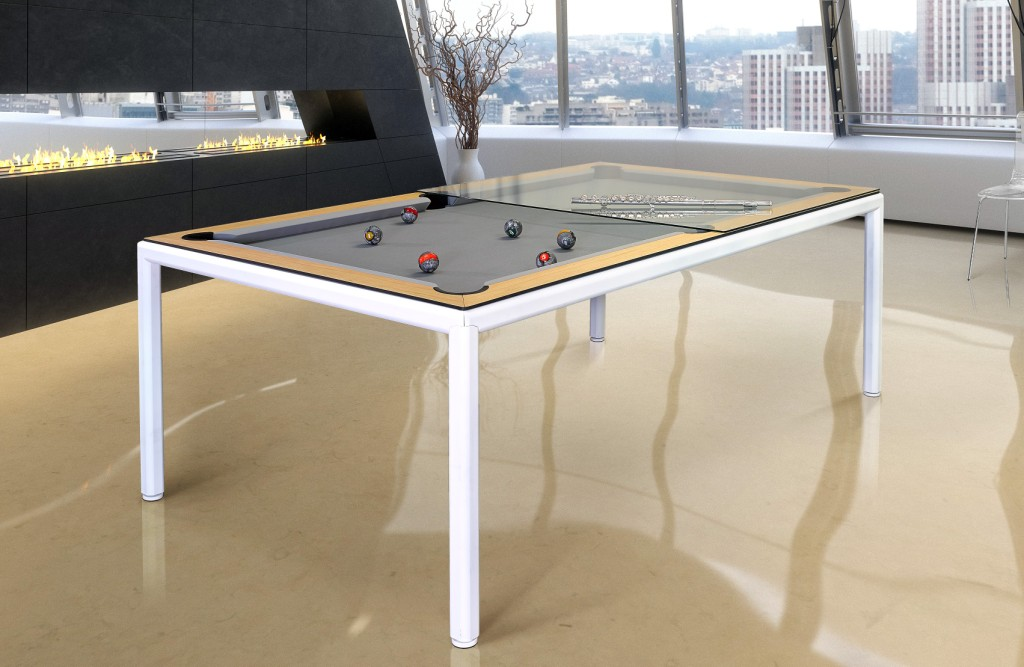 Convertible pool dining fusion table Ultra in white by Vision Billiards