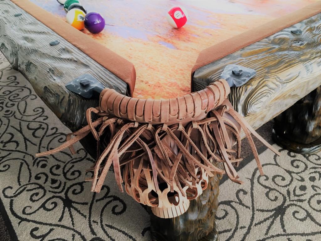 Wilderness rustic log pool table by Vision Billiards pocket