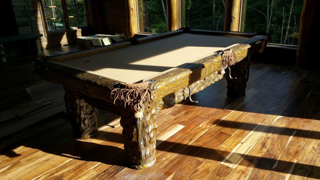 Wilderness rustic log pool table by Vision Billiards