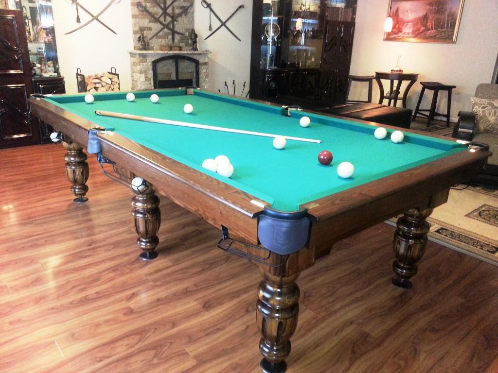 9' Russian Pyramid Billiard Table Olympus in Walnut Brown
