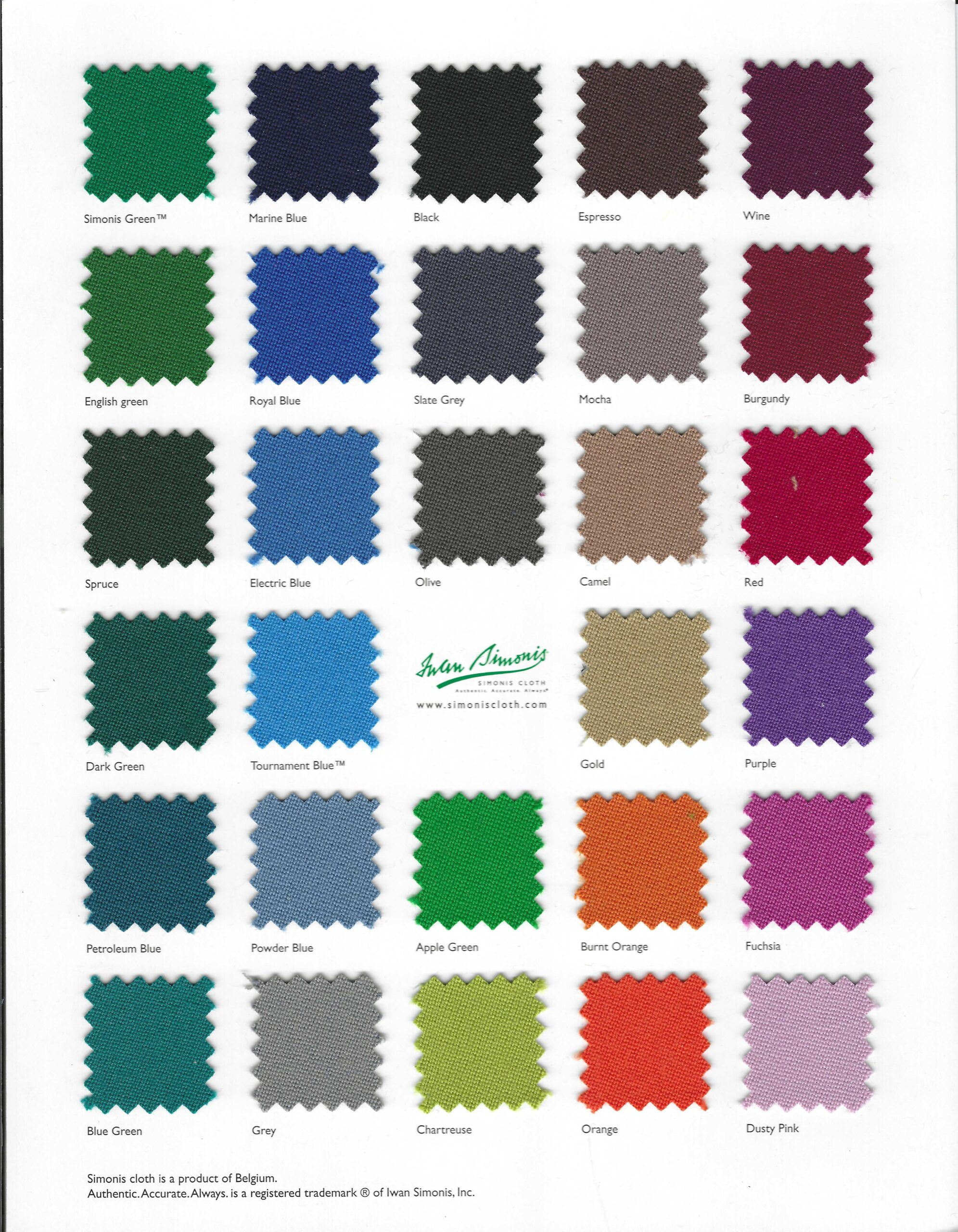 NEW Simonis Cloth Colors