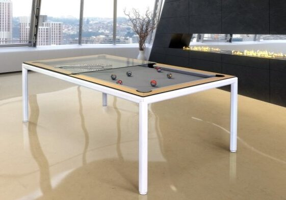 Convertible Dining Pool table ULTRA white Vision Billiards