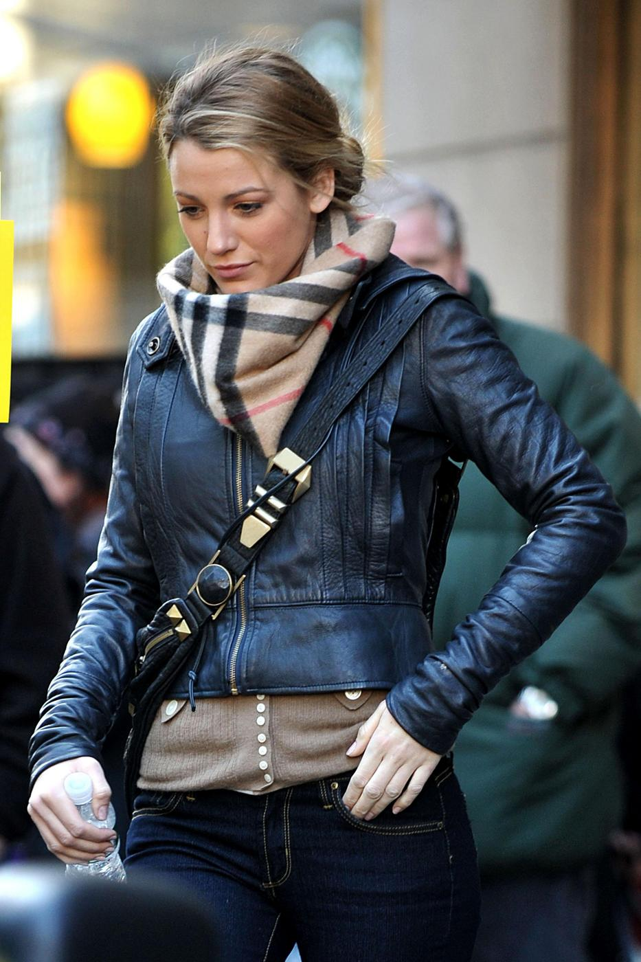 """Blake Lively seen on the set of """"Gossip Girl"""" filming at the Empire Hotel on the Upper West Manhattan"""