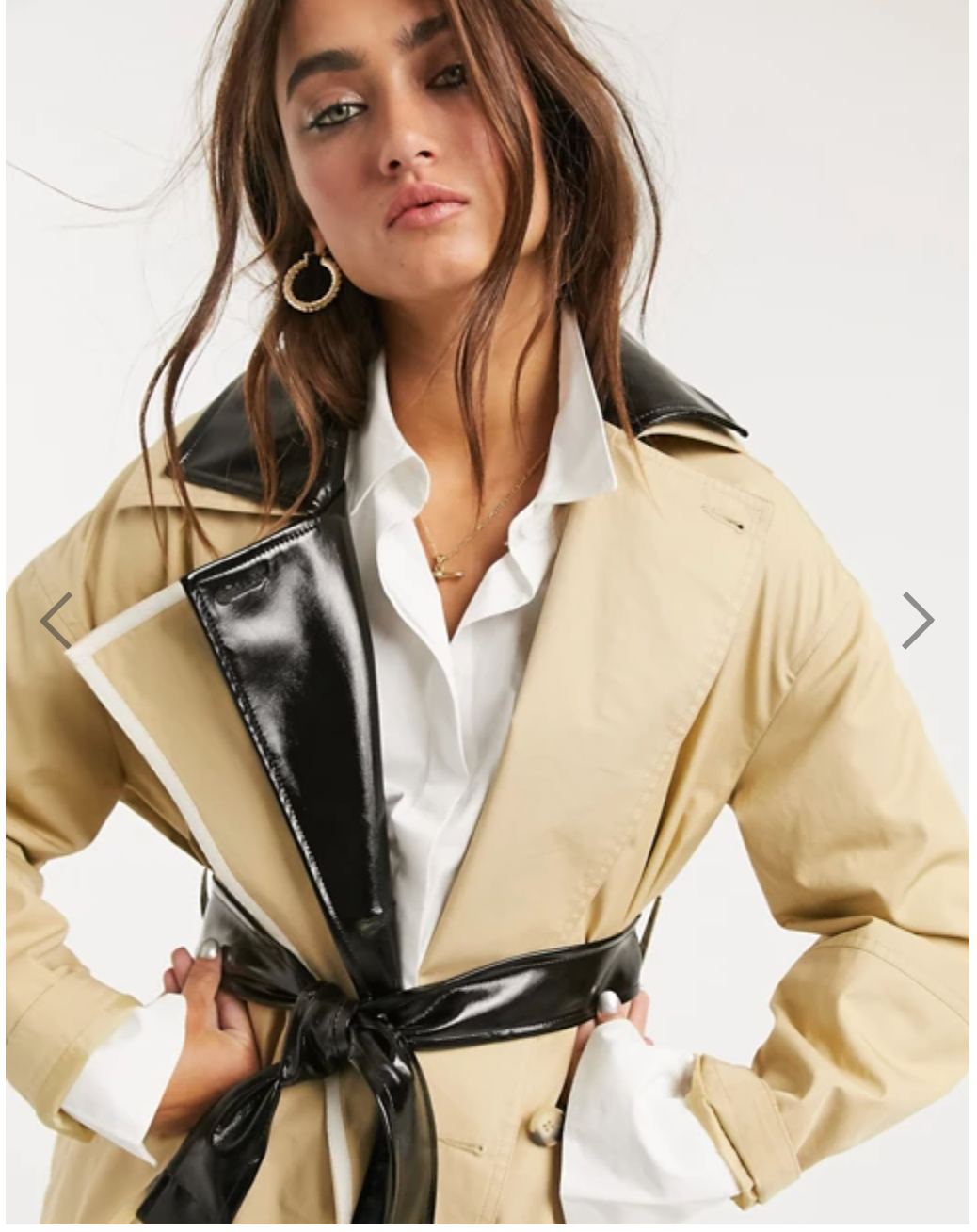 TOPSHOP Trench Coat with Vinyl Panels