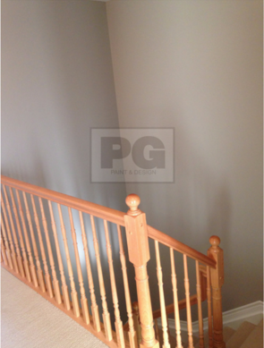 interior painting of high ceilings and stairway by PG PAINT & DESIGN painters
