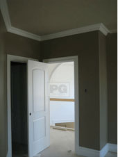 home office repainted in a modern gray paint colour