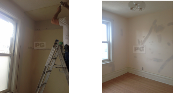 patching and repairing drywall before painting by PG PAINT & DESIGN painters