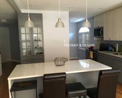 painting of kitchen in white and gray paint colours in semi gloss paint finish best paint for kitchen